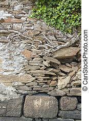 rundown wall detail - old rundown wall detail seen in...