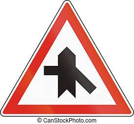 Hungarian regulatory road sign - Crossroads with priority.