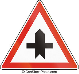 Hungarian regulatory road sign - Crossroads with priority.