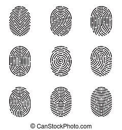 Fingerprint icons vector set - Nine grey fingerprint types...