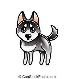 Cute cartoon husky dog isolated vector - Cute cartoon husky...