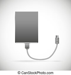 HDD black isolated - illustration black hard drive with a...