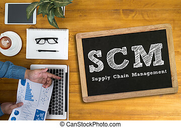 SCM Supply Chain Management concept Businessman working at...