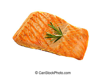 Grilled salmon isolated on white background
