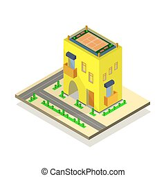 Yellow house, road and green trees