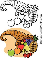 Thanksgiving Cornucopia - A Thanksgiving horn of plenty full...
