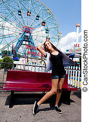 Girl having fun in amusement park