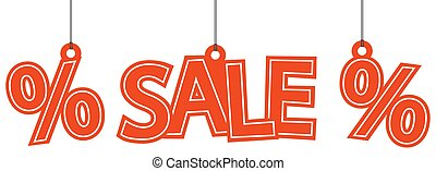 Sale and percentage hangtags - hangtags with red letters...