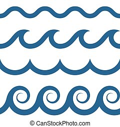 seamless waves pattern - blue and white colored seamless...