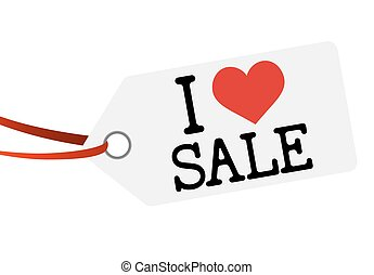 hang tag with text I LOVE SALE - white hang tag with red...
