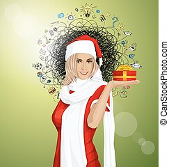 Vector Woman Waiting For Christmas - Vector Woman with gift...