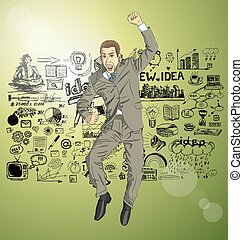 Vector Businessman With Hands Up - Vector happy businessman...