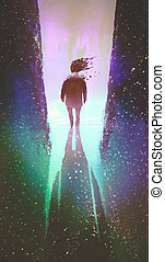 man walking out from a dark space