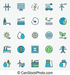 Colorful alternative energy icons - Colorful alternative...