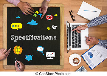 Specifications Businessman working at office desk and using...