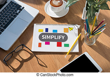 SIMPLIFY open book on table and coffee Business