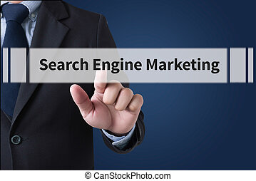 Search Engine Marketing Businessman hands touching on...