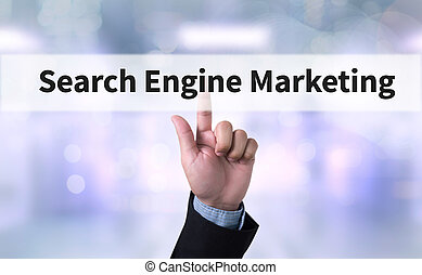 Search Engine Marketing Business man with hand pressing a...