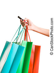 Call - Image of female hand holding colorful shopping bags...