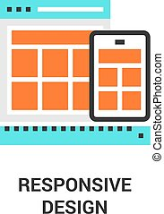 responsive design icon - Modern flat line vector...