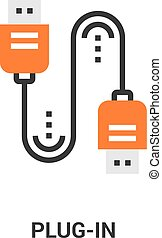 plug in icon - Modern flat line vector illustration icon...