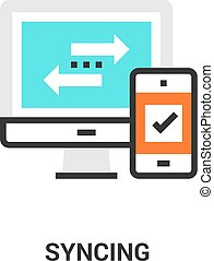 syncing icon concept - Modern flat line vector illustration...
