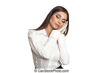 "Model showing ""I want to sleep"" - Tired model in blouse..."