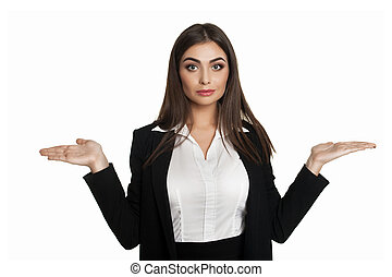 Businesswoman shrugging in disbelief - Young businesswoman...