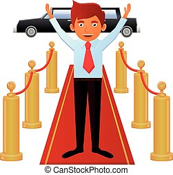 Man on red carpet entrance vector