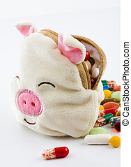 Antidotes of pig virus - Conceptual image of a soft toy pig...
