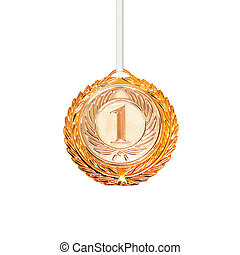 Sports award gold medal isolated on a white background