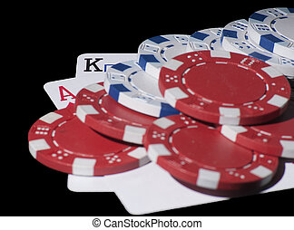 AK and chips - Poker cards. AK and chips black background