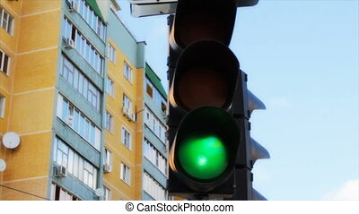 Traffic Light on the street - the red traffic signal.traffic...