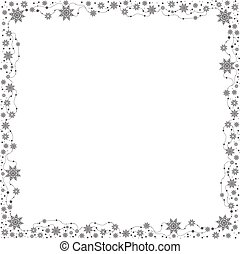 christmas border - gray snowflakes on white background...