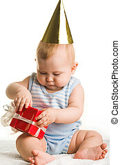Birthday gift - Photo of adorable baby holding birthday...