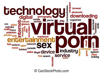 Virtual porn word cloud concept