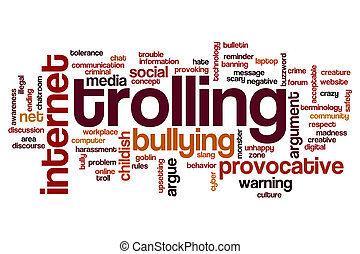 Trolling word cloud concept