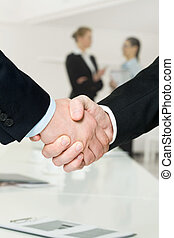 Business support - Photo of handshake of business partners...