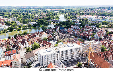 Aerial view over the city of Ulm
