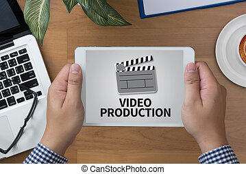 VIDEO PRODUCTION man hand Tablet and coffee cup