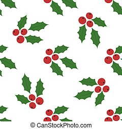 Seamless Background Holly Berries - Christmas Seamless...