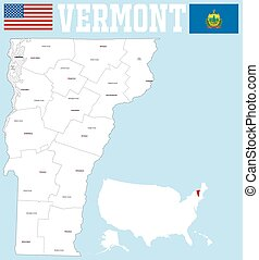 Vermont county map - A large and detailed map of the State...