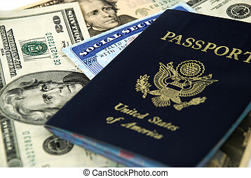 social security and passport - social security card, a...