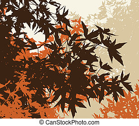 Colored landscape of automn brown foliage - Vector...