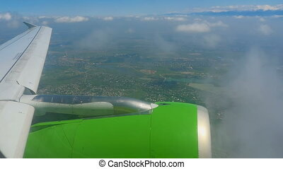 Aerial view from descending airplane - Aerial view, aircraft...