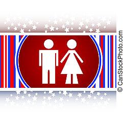 icon toilet button, Man and Woman