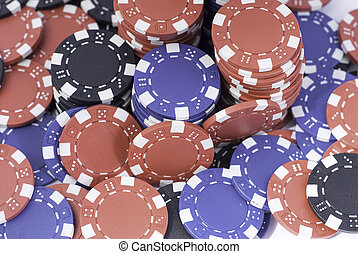 pokerchips red - red, black and blue poker chips gaming