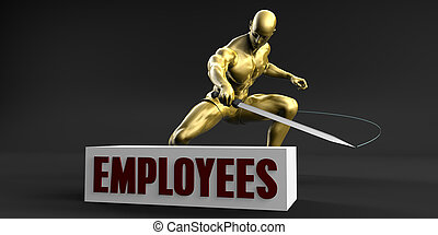 Reduce Employees and Minimize Business Concept