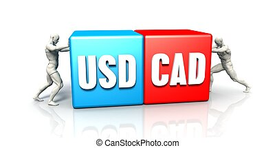 USD CAD Currency Pair Fighting in Blue Red and White...