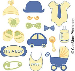 baby 15 objects clip art set. Set of baby shower elements isolated on white background. Vector illustration